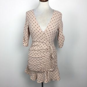 NWT Outrageous Fortune Pink & Brown Dot Mini Dress